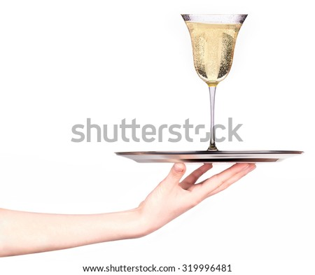 Waitress holding tray with glass of champagne isolated on white background - stock photo