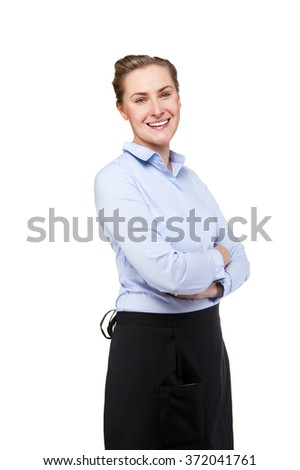 Waitress isolated over white background. Smiling blond woman in uniform.