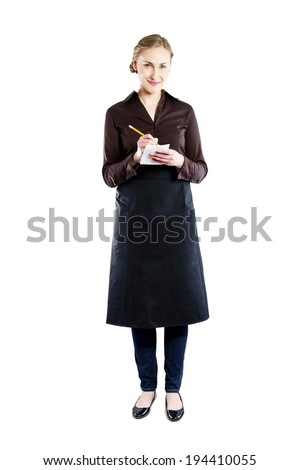 Waitress over white background taking order - stock photo