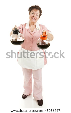 Waitress serving a choice of regular or decaffeinated coffee.  Full body isolated. - stock photo
