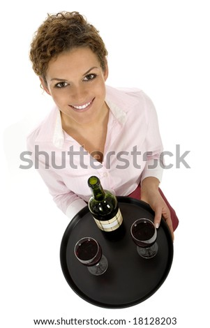 Waitress Serving Wine - stock photo