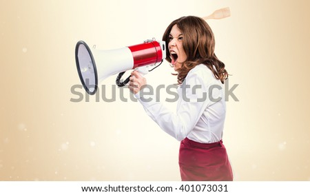 Waitress shouting by megaphone