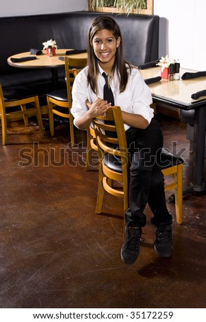 Waitress taking a break - stock photo