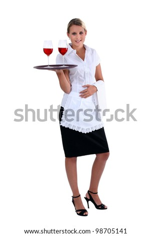 Waitress with tray and glasses - stock photo
