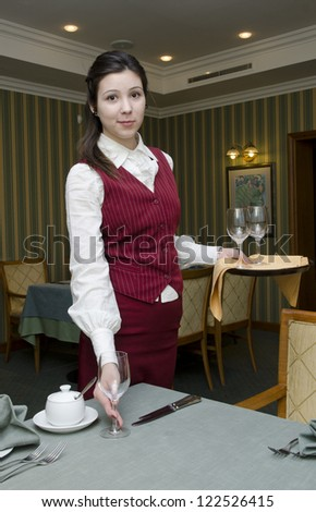 Waitress with tray serving the table in the restaurant