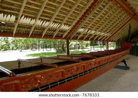 Waka - Maori war canoe - stock photo