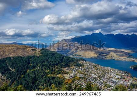 Wakatipu Lake from Ben Lomond track Queenstown New Zealand - stock photo