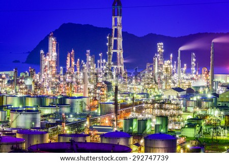 Wakayama, Japan oil refineries. - stock photo