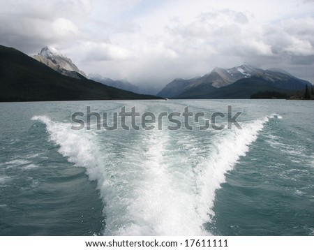 Wake caused by a boat - stock photo