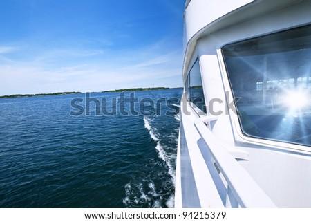 Wake from fast tour boat on Georgian Bay, Ontario - stock photo