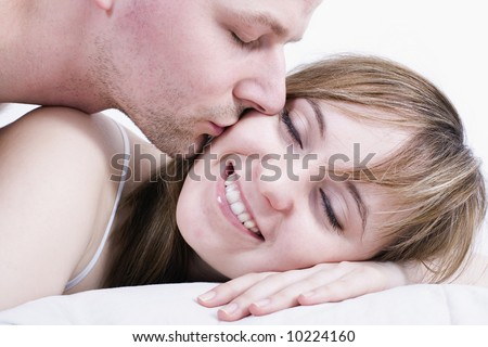 Wake up Darling / Young couple / Summer love, romance and a happy lifestyle. - stock photo