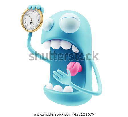 Wake Up Emoticon Character Face Expression. 3d Rendering. - stock photo