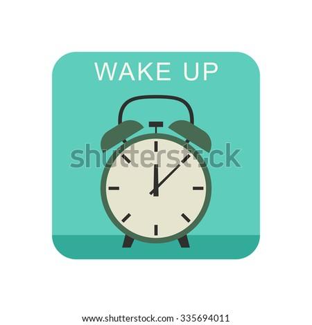 Wake up flat icon with alarm clock. Raster version - stock photo