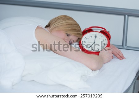wake up in the morning, red clock, - stock photo