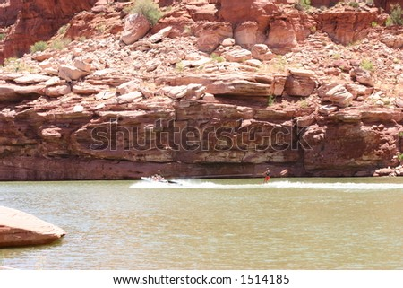 Wakeboarding at Lake Powell - stock photo