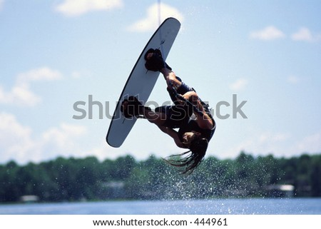 Wakeboarding, inverted - stock photo