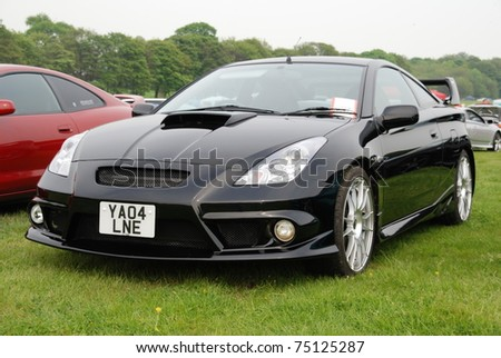 WAKEFIELD, ENGLAND - MAY 10: Black Toyota Celica on Display at the Annual Rising Sun Car Show on May 10, 2008 in Wakefield, England, UK.  Norton Priory is host to the show