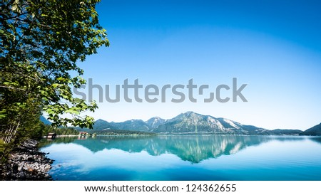 walchensee in bavaria - with space for text - stock photo