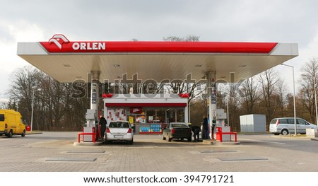 "WALCZ, POLAND - March 19, 2016: The petrol station ""Orlen""neat the national road No. 10 in Walcz, in Poland"