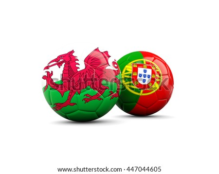 Wales and Portugal soccer balls isolated on white. 3D illustration