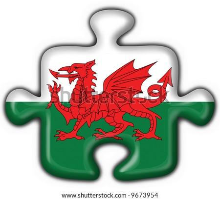 wales button flag puzzle shape - stock photo