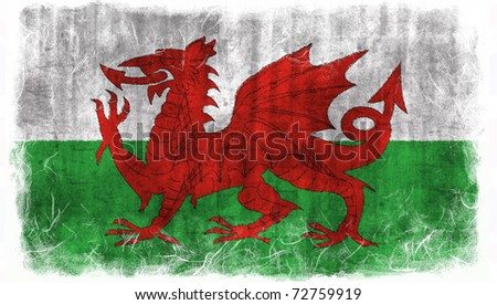 Wales grunge flag - stock photo