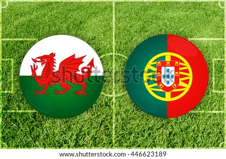 Wales vs Portugal icons at football field background - stock photo