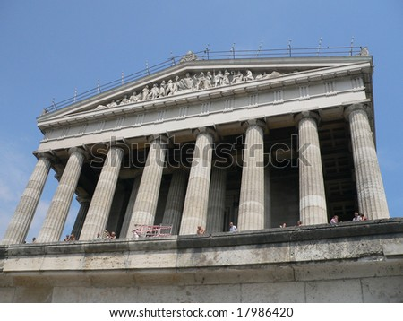 Walhalla Temple - German hall of fame at Danube River near Regensburg - stock photo