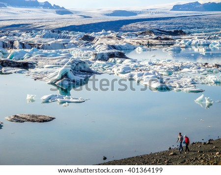 Walk along the Jokulsarlon lake, Iceland