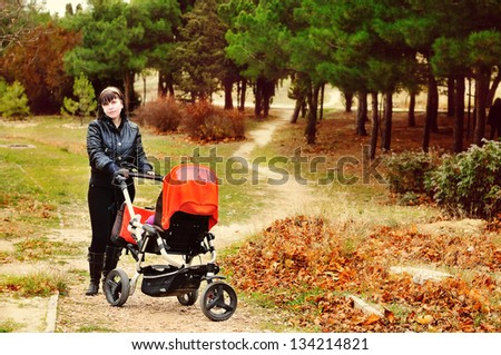 walk in  fall park with baby in stroller