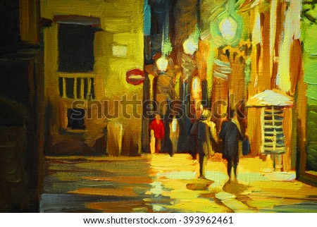walk in the rain in barcelona gothic quarter, painting, illustration - stock photo