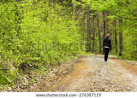 Walk in the spring forest - stock photo