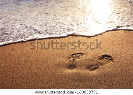 walk on the beach - stock photo