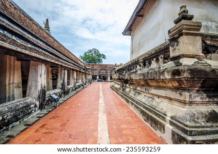 Walk path in the temple - stock photo