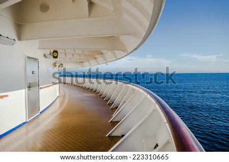 walk way around cruise deck - stock photo