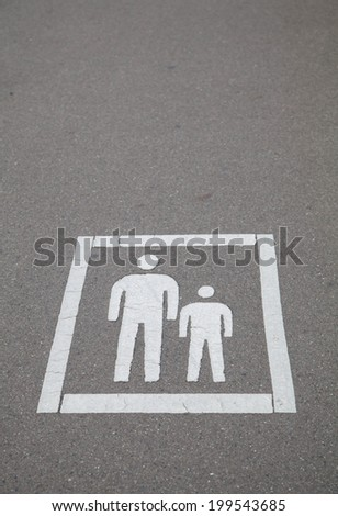 Walk way lane sign in public street - stock photo