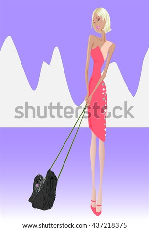 Walk with their dogs, the background is a mountain - stock photo
