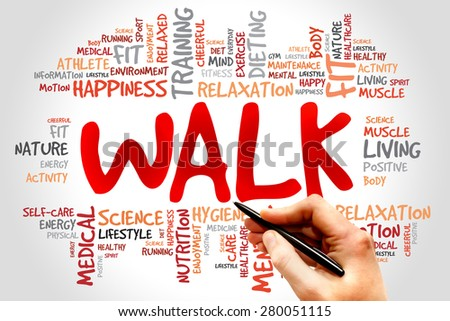 WALK word cloud, fitness, sport, health concept - stock photo