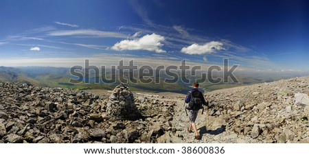 Walker descending Ben Nevis on a clear summer day - stock photo