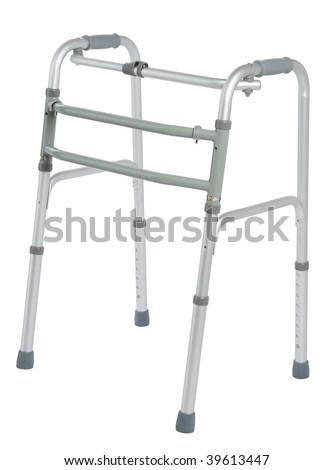 Walker, orthopedic equipment over white - stock photo