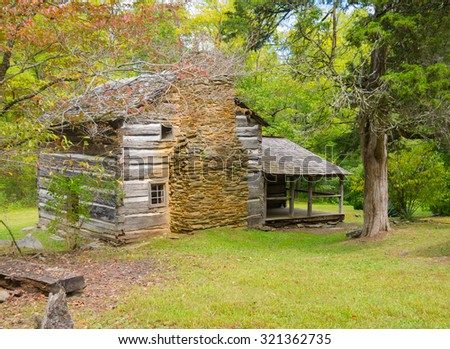 Walker Sister's Cabin in the Great Smoky Mountains National Park - stock photo