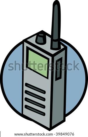walkie talkie radio or police scanner - stock photo