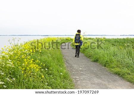 Walking along the IJsselmeer in the Netherlands in springtime - stock photo