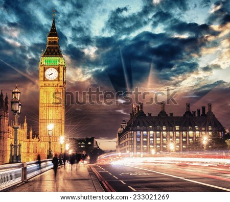 Walking at night on Westminster Bridge - London. - stock photo