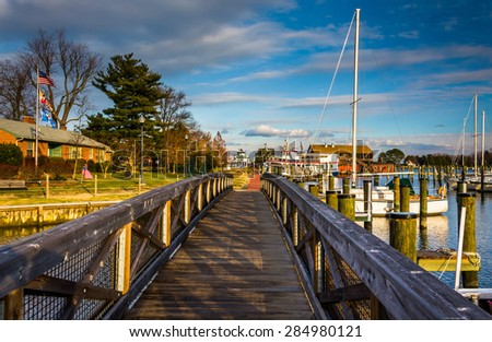 Walking bridge in the harbor of St. Michael's, Maryland. - stock photo