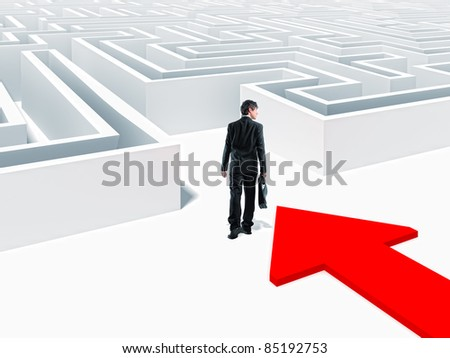 walking businessman and 3d maze - stock photo