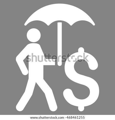 Walking Businessman With Umbrella icon. Glyph style is flat iconic symbol with rounded angles, white color, gray background.