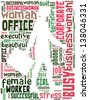 Walking businesswoman info-text graphics and arrangement concept (text/word cloud/word collage) - stock