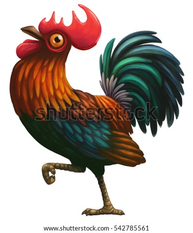 Walking cartoon rooster digital illustration.  The symbol of 2017 New year by Chinese calendar.