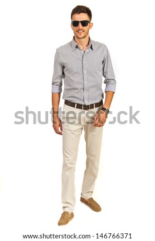 Walking casual business man isolated on white background - stock photo